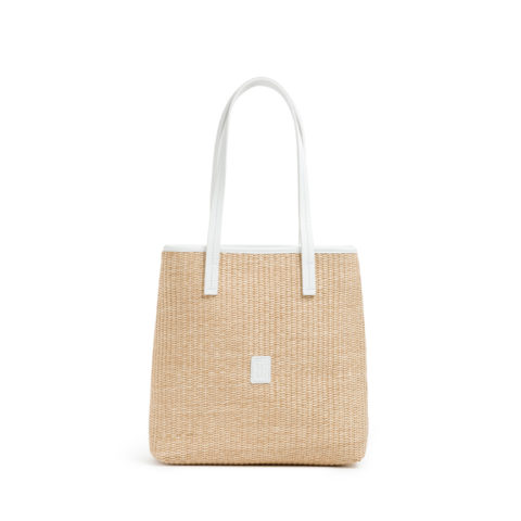 Bolso rafia mini tote borde blanco
