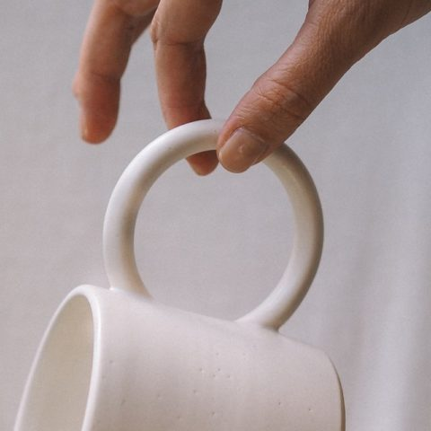 Taza «round handle white»
