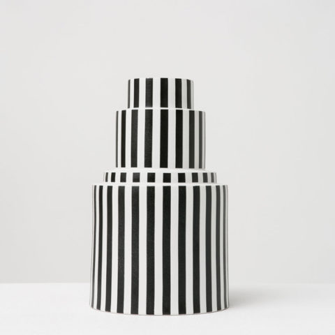 Large striped black & white porcelain vase