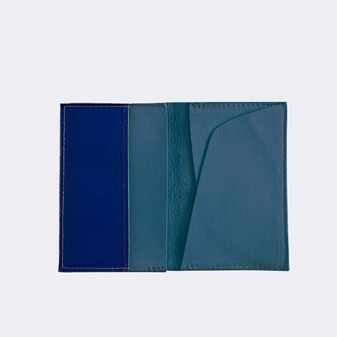 Blue leather card holder