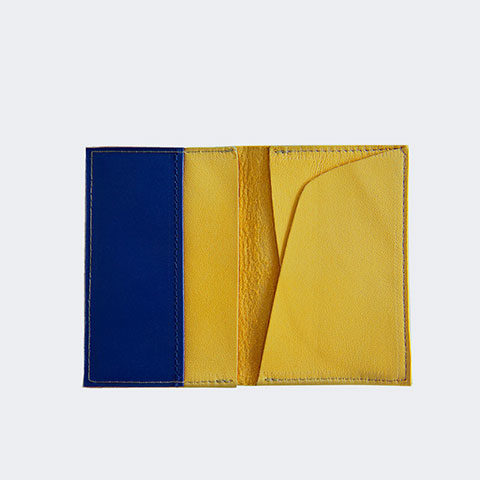 Yellow leather card holder