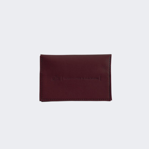 Burgundy leather card holder