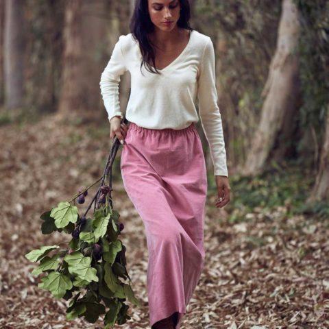 Falda larga de pana rosa