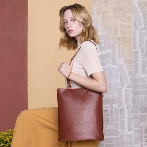 Bolso mochila de piel OTTO marrón