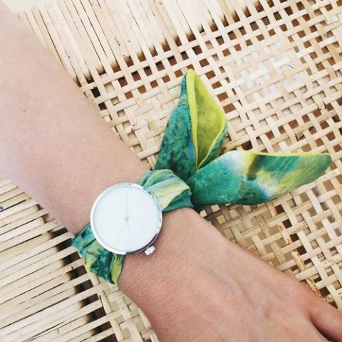 Printed fabric strap watch 5:38pm