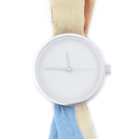 Printed fabric strap watch 6:09pm