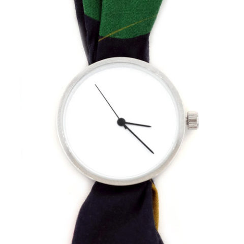 Printed fabric strap watch 6:08pm