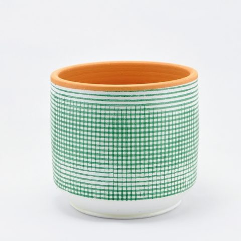 High Lama planter with green squares