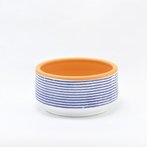 Blue striped low Lama planter