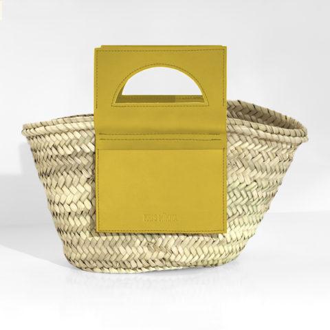 Bolso capazo mini Simetric con piel amarilla
