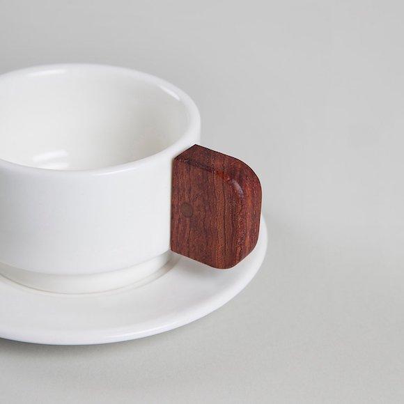 Tazas de café blancas con asa de madera MYBARRIO MATÍMAÑANA III