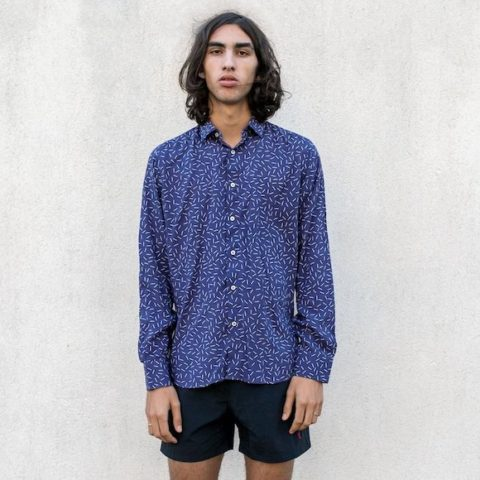 Camisa estampada Karldom Navy Tailored azul