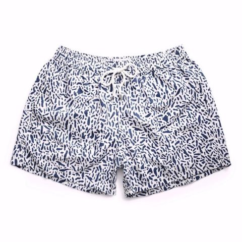 Short de baño Traces blanco y azul