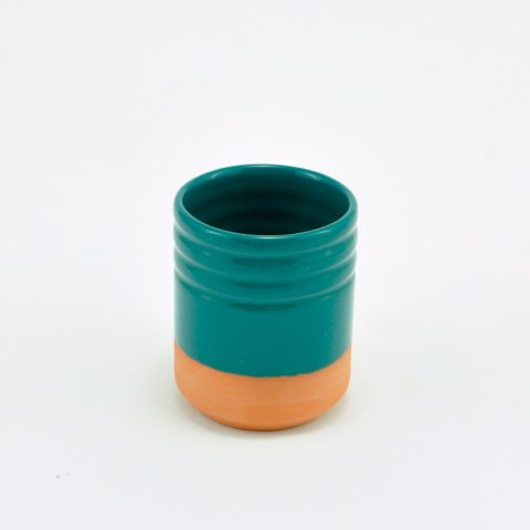 Green two-tone glazed clay glass