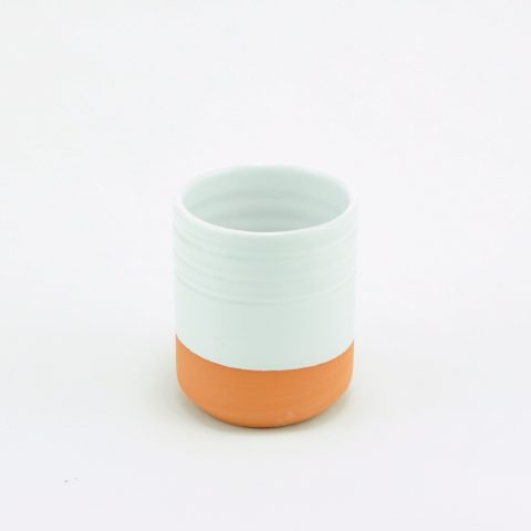White two-tone glazed clay glass