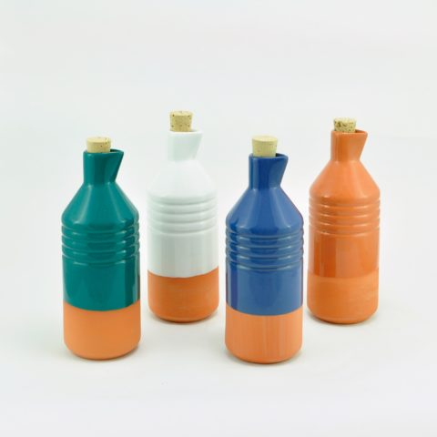 Blue two-tone glazed clay bottle