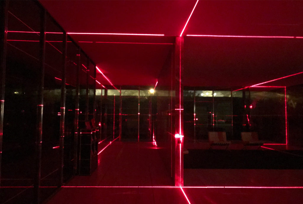 Geometry of Light, the new intervention in the Mies van der Rohe Pavilion.