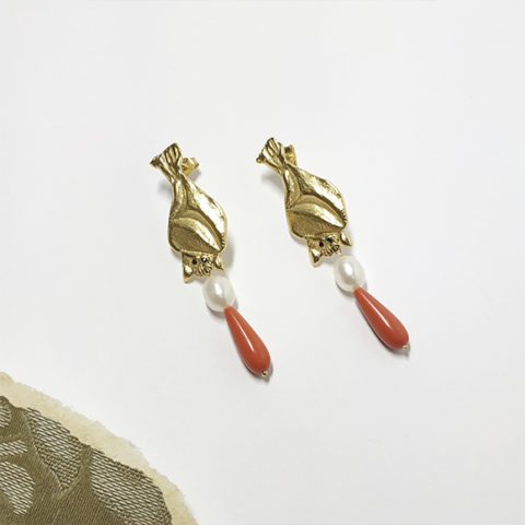 Gold bat earrings with pearl and coral