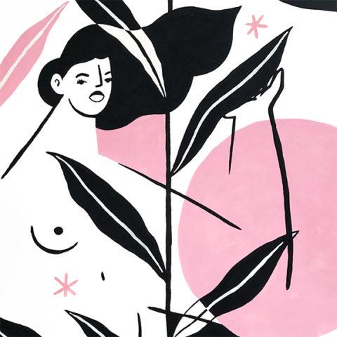 Pintura acuarela mujer y plantas – Natural