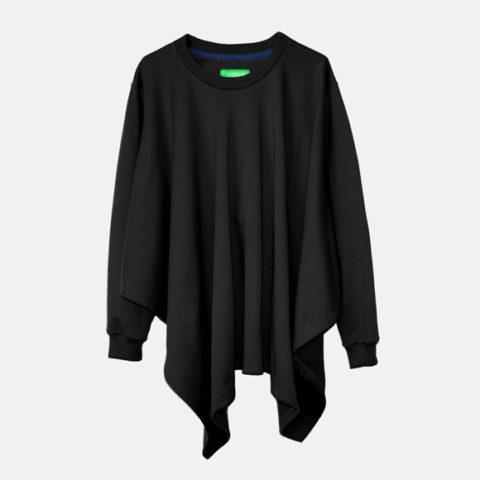 Asymmetric black sweatshirt with scarf cut