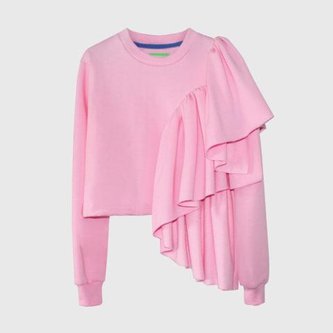 Pink sweatshirt with ruffles