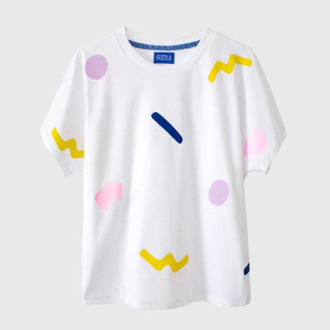 White t-shirt with geometric print