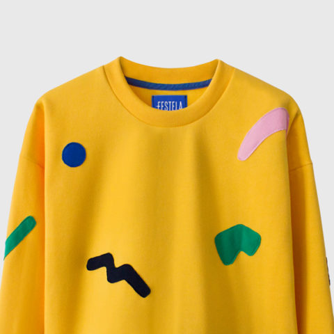 Yellow sweatshirt with geometric embroidery