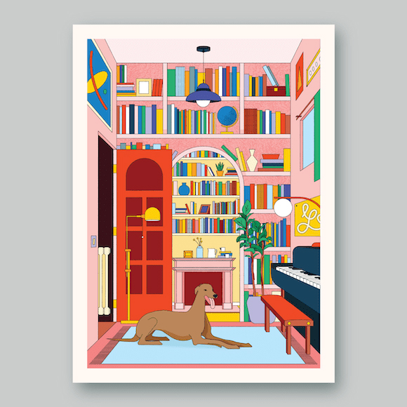 Dogs at Home / Greyhound art print