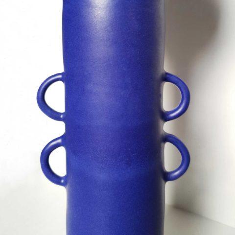 Jarrón cerámica girado grande azul