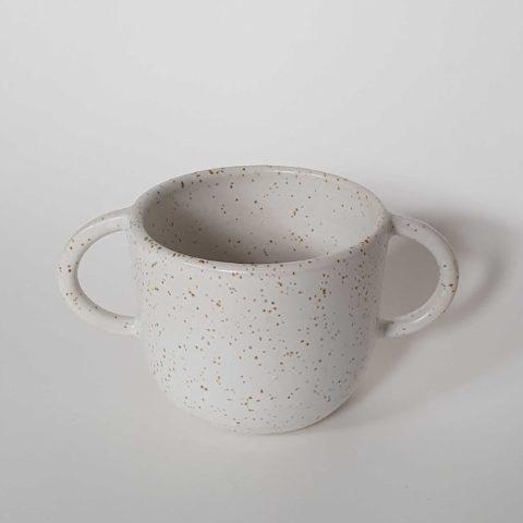 Taza de cerámica grande 2 asas blanco