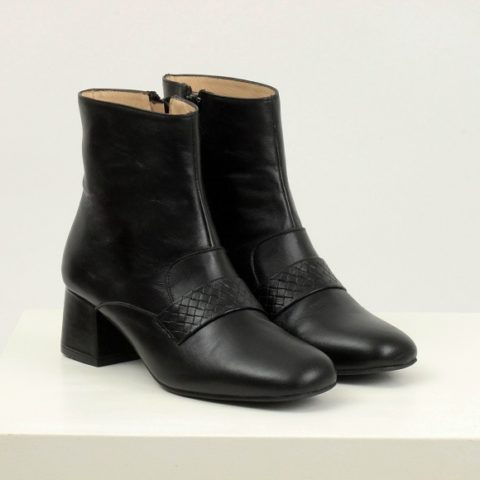 Black stamped ankle boot