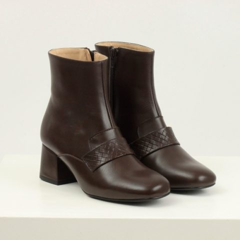 Brown stamped ankle boot