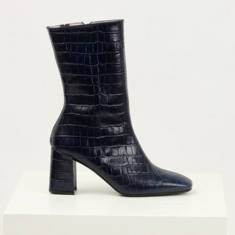 Dark blue croc-stamped boots