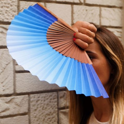 Grau Azul blue printed fan
