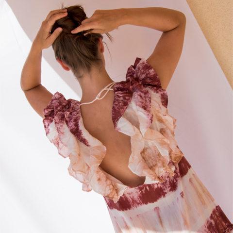 Pink tie dye ruffle dress