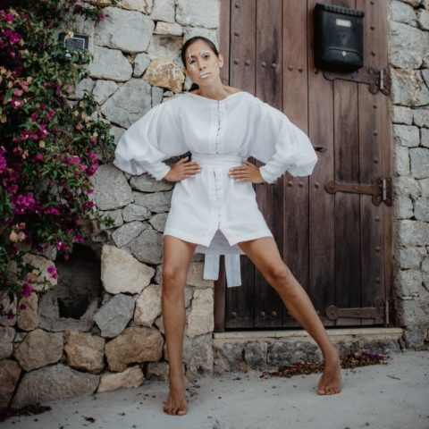 White linen dress with puffed sleeves