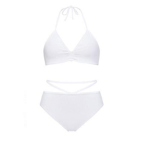 White bikini with ruched top