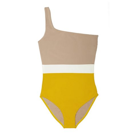 Bañador oneshoulder color block