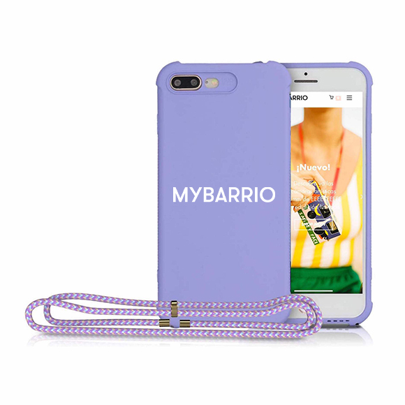 Funda Iphone silicona lila con cordón - logo MYBARRIO