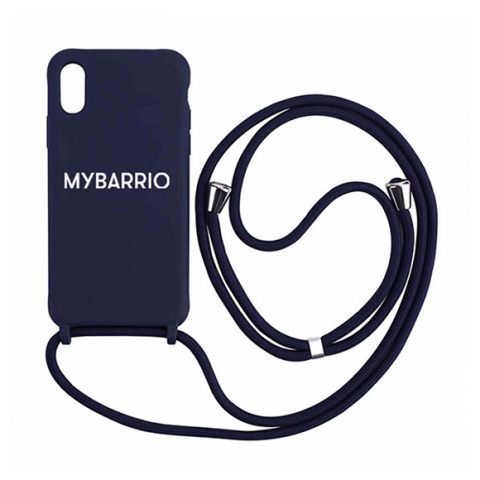 Funda Iphone silicona con cordón azul marino