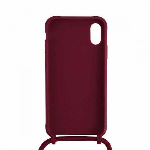 Funda Iphone silicona con cordón grenate