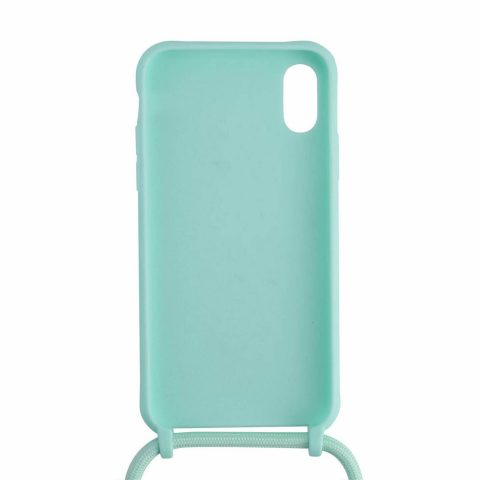 Silicone iPhone case with turquoise rope