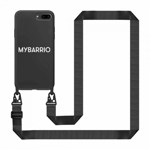 Black crossbody Iphone case with flat rope